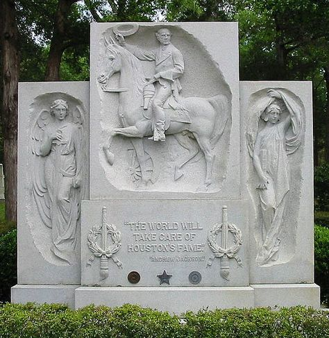 """A photo of Sam Houston's gravesite memorial in Huntsville, Texas. Credit: Wikipedia. Read more on the GenealogyBank blog: """"Curious & Funny Epitaphs of Famous People & the Not-So-Famous."""" http://blog.genealogybank.com/curious-funny-epitaphs-of-famous-people-the-not-so-famous.html"""