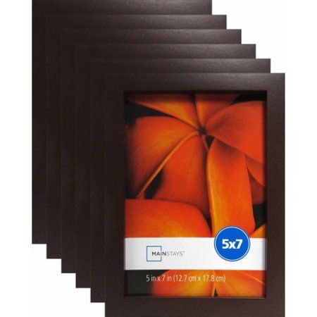 Mainstays 5 X 7 Brown Linear Frame Set Of 6 Walmart Com Brown Picture Frames Frame Set Traditional Decor