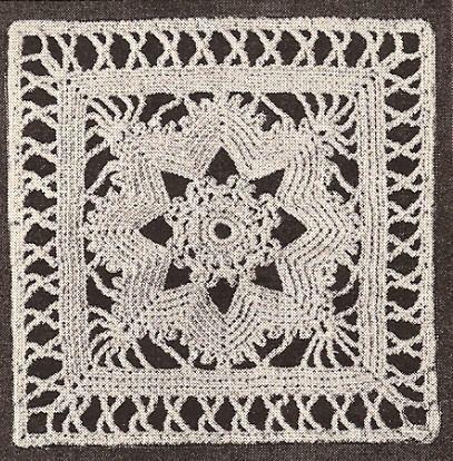 Vintage Crochet PATTERN MOTIF BLOCK Flower Qu Bedspread