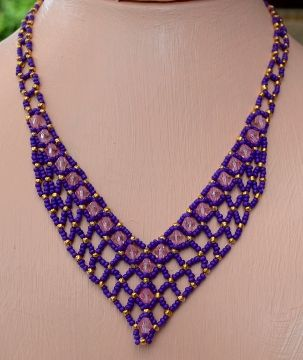 Buy Pattern Weaved Beaded Necklace - Perfect Purple by Cecilia Rooke