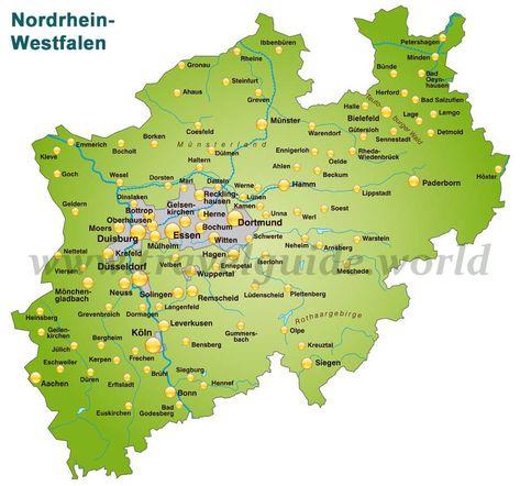 Nordrhein Westfalen Karte Karte Nordrhein Westfalen Westfalen