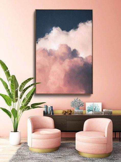 home_decor - Cloud Painting Print, Cloud Print, Cloudscape Art Print, Large Wall Art, Abstract Wall Art, Modern Painting, Cloud Art READY to HANG ART