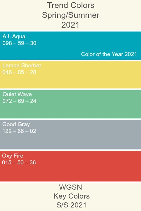 Trend Colors 2021  #ss21 #trendcolor #keycolors #wgsn