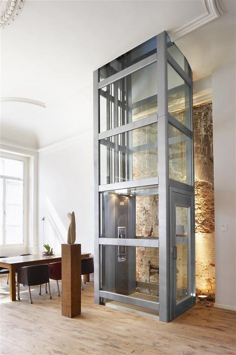 glass and metal residential elevator (Volant) by Thyssen krupp ...