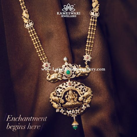 The stunning Lakshmi haram with 3 line gold balls chain paired with elephant and Lakshmi design 2 step diamond pendant in close setting from Kameswari Jewelers