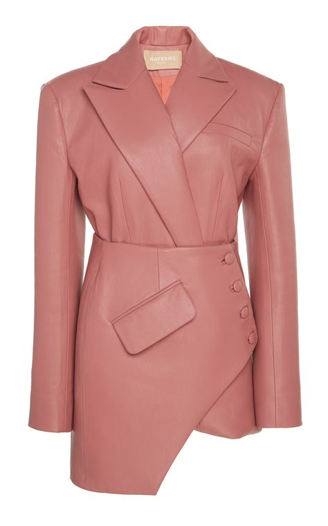 MATÉRIEL Asymmetric Faux Leather Blazer Mini Dress