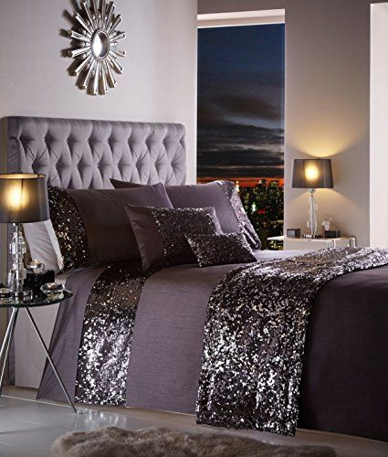Luxury Sparkling Sequin Double Bed Duvet Quilt Cover Bedding Set Dazzle Charcoal Luxury Bedding Bed Linen Sets Bed Linens Luxury