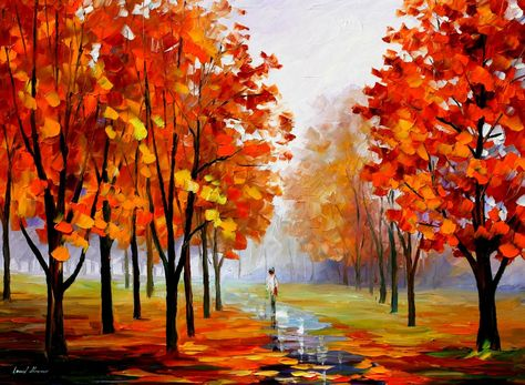 Beautiful original oil painting by famous artist Leonid Afremov. The painting is stretched and ready to hang. Painting painted with a palette knife. Shipping is free worldwide!