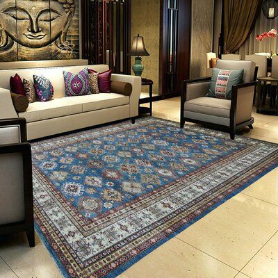 Bloomsbury Market One Of A Kind Evalina Super Kazak Hand Knotted 8 8 X 12 2 Wool Blue Area Rug In 2020 Patterned Rugs Bedroom Living Room Carpet Rugs In Living Room