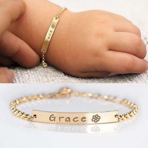 Custom Baby Name Bracelet + Gift Box, Personalized Words Engraved Bracelet, Adjustable Baby Toddler Child ID Bracelet, Birthday Gift