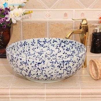 Yl E 6585 Cheap Blue And White Flower Design Round Ceramic Small Size Wash Basin Buy Bathroom Ceramic Sink Bowl Luxury Wash Basins Toil Wash Basin Basin Sink New top ceramic bathroom size