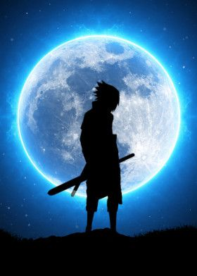 Sasuke Uchiha Blue Moon Poster Print By Ihab Design Displate Sasuke Uchiha Shippuden Naruto Shippuden Sasuke Sasuke Sharingan