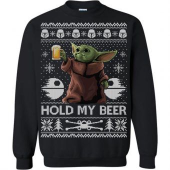 Hold My Beer Baby Yoda Ugly Christmas Sweater