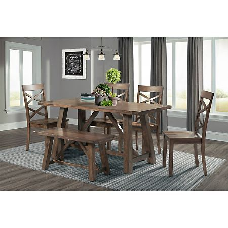 Reagan Dining Set Walnut Sam S Club Dining Room Sets Rectangle Dining Table Picket House Furnishings