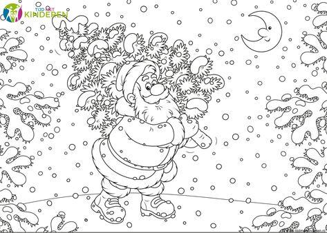 Kleurplaten Kerstman Met Kerstboom.Kleurplaat Kerstman 33 Allermooiste Kerstman Kleurplaten Beste