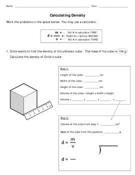 Calculating Density Mod Density Worksheet Middle School Science