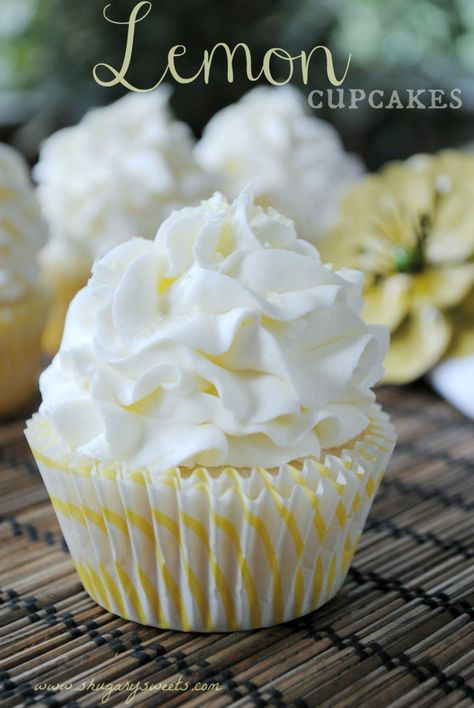 Lemon Cupcakes- the best white cake batter from scratch with a hint of lemon, topped with a http://www.shugarysweets.com