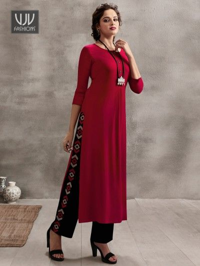 Trendy Maroon Color Rayon Casual Plain Designer Kurti With Images