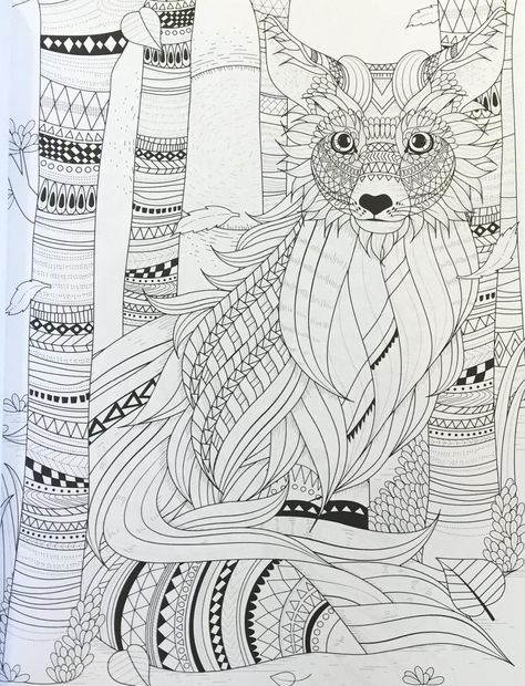 fluffy fox in the forest - adult coloring page - buy this stock vector on Shutterstock & find other images.
