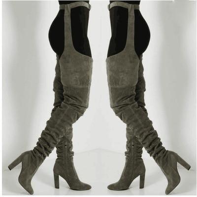 Belt thigh high boots