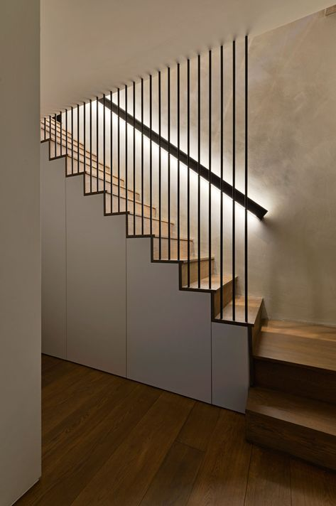 Design Detail – These Wood Stairs Have A Handrail With Hidden Lighting
