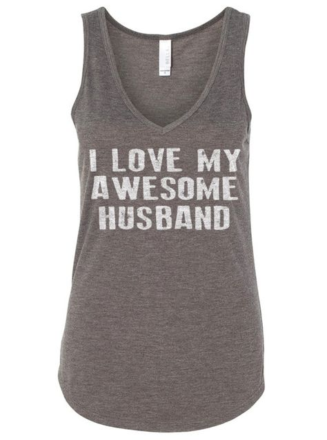 Valentine's Day I Love My Awesome Husband Flowy V-Neck Tank Women's Tank top Girlfriend Gift Wife Gift on Etsy, $19.95