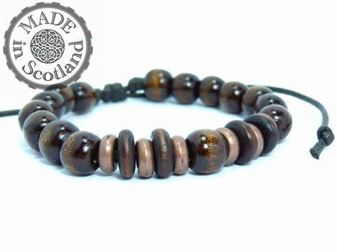 10mm Beaded Wood & Red Copper Bracelet by MadeInScotlandUK