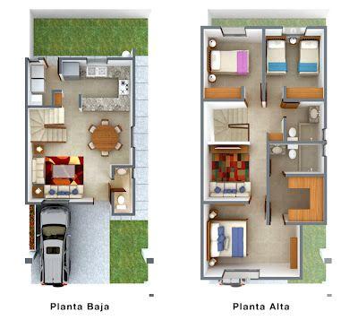 planos de casas de dos pisos de 10x15