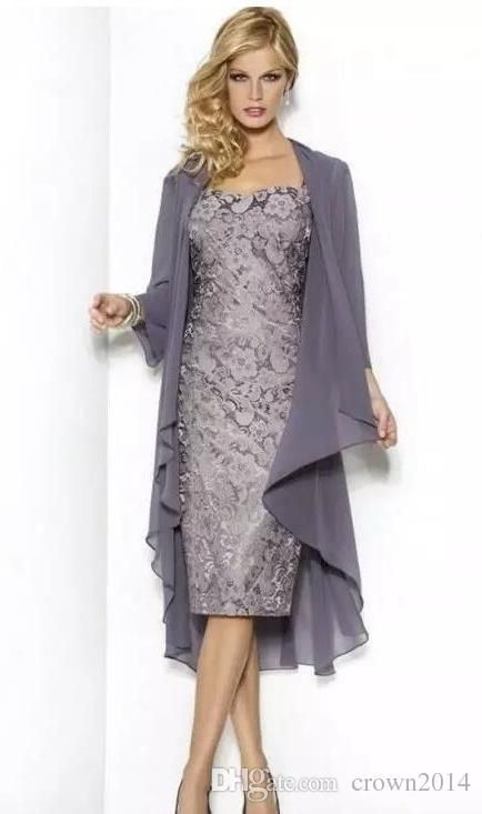 8ac3679349554 Grey Elegant Sweetheart Mothers Of The Bride Dresses Tea Length ...