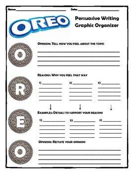 Persuasive Writing Oreo Method Upper Elementary Persuasive