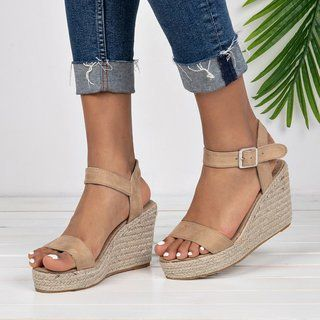 Details about  /Women Retro Slingback Sandals Wedge Heel Open Toe Casual Shoes Slip On US New
