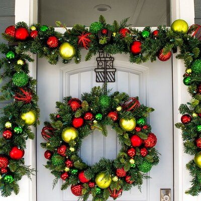 The Holiday Aisle Festive Holiday 30 Pvc Wreath Christmas Wreaths With Lights Battery Operated Christmas Wreath Pre Lit Garland