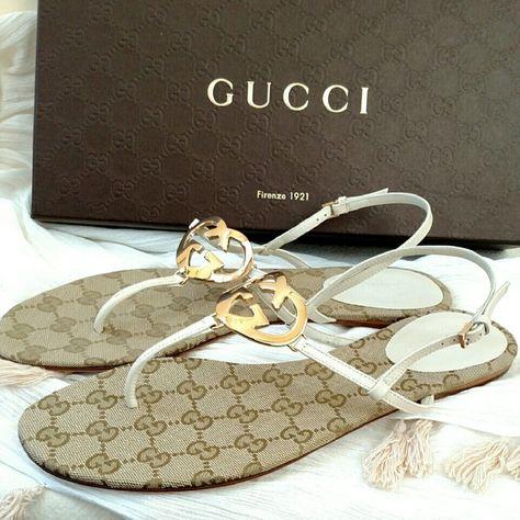 b2470b0fe NEW Gucci Ellen mere G Thong Sandals Stunning! NWB Gucci Leather Interlocking  G Flat Sandal Bone White Size US 9.5/ EU 39.5 100 % Authentic and Brand New  ...