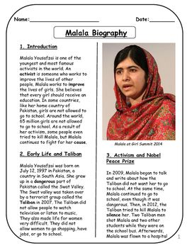 Malala Biographical Article And Activities For Esl Ccss Aligned