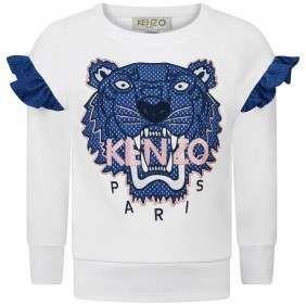 Kenzo Girls White & Blue Tiger Sweater in 2020   Kenzo kids