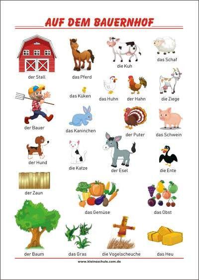 Auf Dem Bauernhof Lernposter Fasching Im Kindergarten Deutsch Lernen Kinder Bauernhof Kinder