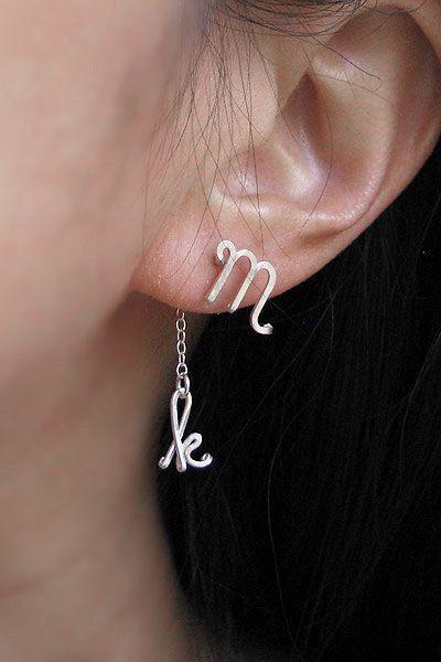 Initial Earrings,Cursive Letter earring Sterling Silver Cursive Initial Earrings Cursive Initial Earrings Silver Cursive Initial Earrings