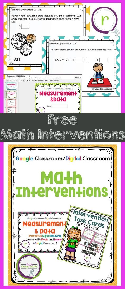 Free Classroom Math Intervention Task Cards Great For Practice