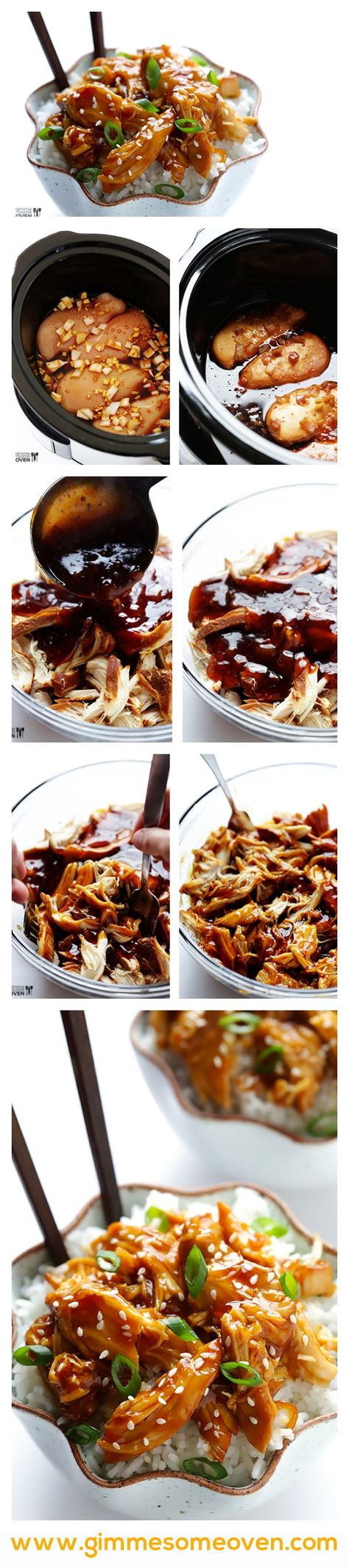 Slow Cooker Teriyaki Chicken -- super easy to make, and naturally sweetened with honey instead of sugar | gimmesomeoven.com #chicken #crockpot #slowcooker