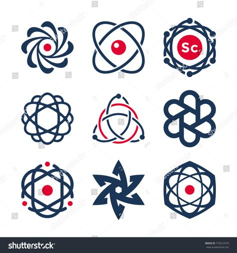 Science symbols, atom and molecule icons, chemistry - logo design elements and logotype templates