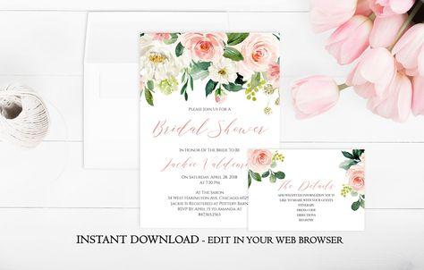 Blush Floral Bridal Shower Invitation Template | Printable Bridal Shower Invitation | Garden | Flower | Spring | Summer | Download PDF