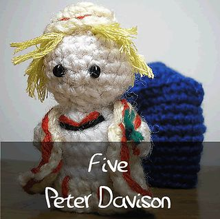 Dr Who - Fifth Doctor by Nyss Parkes (These mini Doctors do come in one single download, but they simply must be represented individually!) Free Pattern: http://www.ravelry.com/download/146980/free  #TheCrochetLounge #DrWho Collection