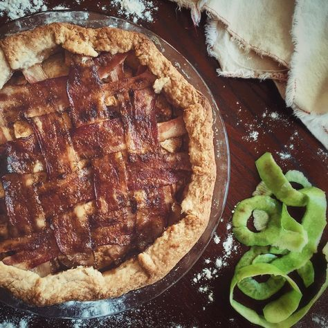 Apple Pie with a Bacon Lattice Topping. This dish needs no explanation. The salty fat in the bacon melts down through the sweet Apple filling and creates a super rich and indulgent filling. Top your slice with a scoop of vanilla ice cream sit back and let the food coma ensue.