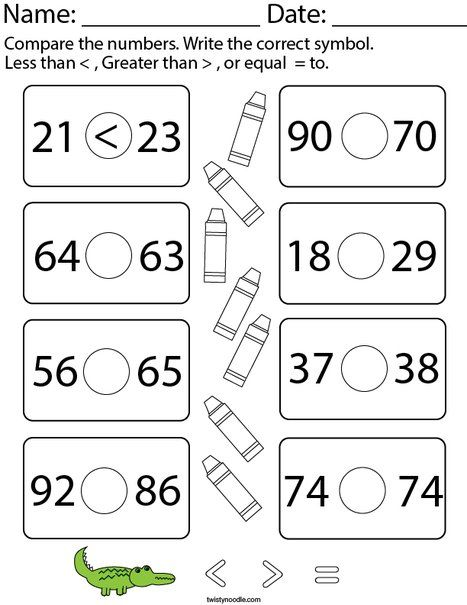 Less Than Greater Than Equal To 2 Digit Numbers Math Worksheet Twisty Noodle Math Worksheet Worksheets Greater Than
