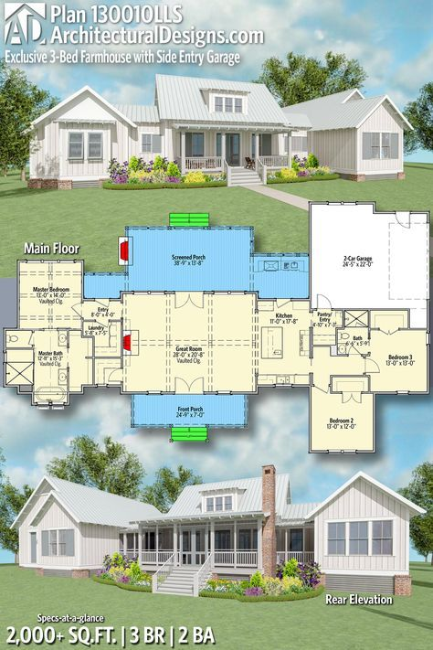 Plan 130010lls Exclusive Farmhouse Plan With Side Entry Garage Exclusive House Plan Farmhouse Plans House Plans Farmhouse