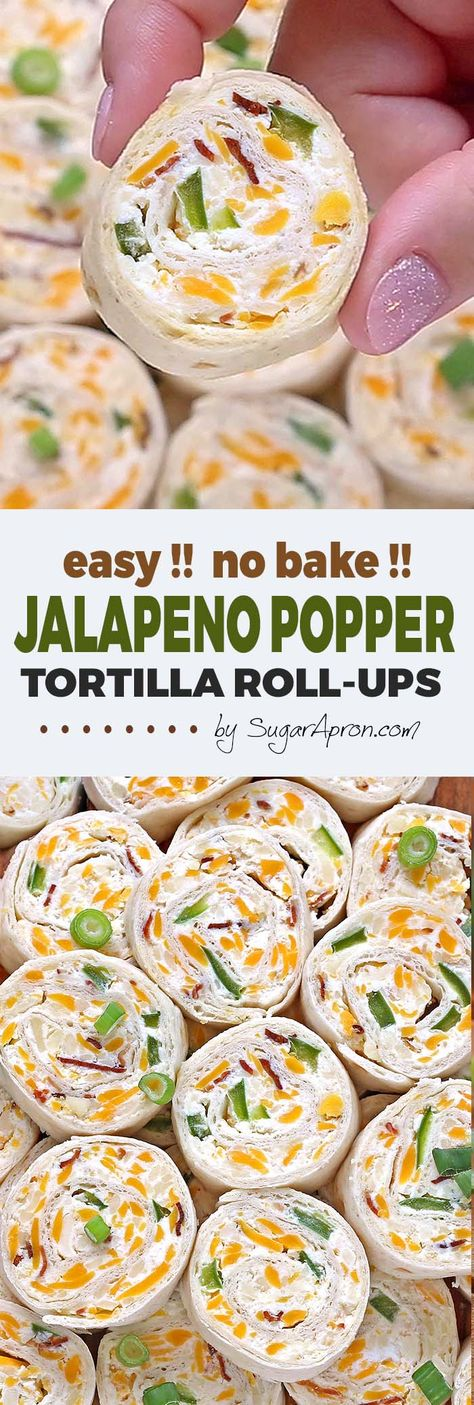 Jalapeno Popper Tortilla Roll Ups - Sugar Apron Jalapeno Popper Tortilla Roll Ups are a simple and fun bite sized spin on ever popular jalapeno poppers! Always a crowd pleaser, perfect for game day party. Mexican Appetizers, Yummy Appetizers, Mexican Food Recipes, Appetizer Recipes, Pinwheel Appetizers, Wedding Appetizers, Party Dips, Cream Cheese Stuffed Jalapenos, Cream Cheese Jalapeno Poppers