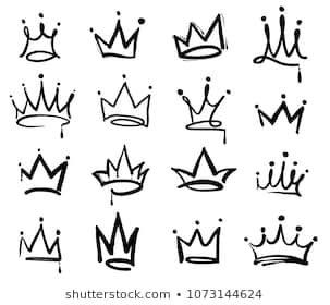 Crown logo graffiti icon. Black elements isolated on white background. Vector illustration.