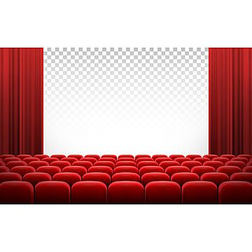 White Cinema Theatre Screen With Red Curtains And Chairs Cinema Clipart Screen Theater Png And Vector With Transparent Background For Free Download Curtains Vector Red Curtains Chair