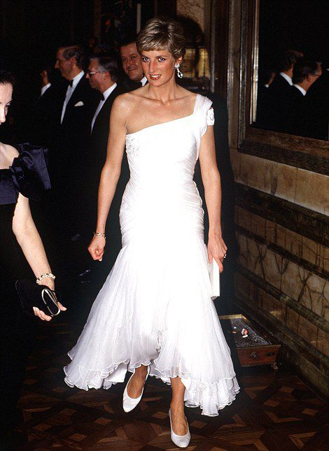 All white..Princess Diana donned a white, ruffled dress in Brazil in 1991
