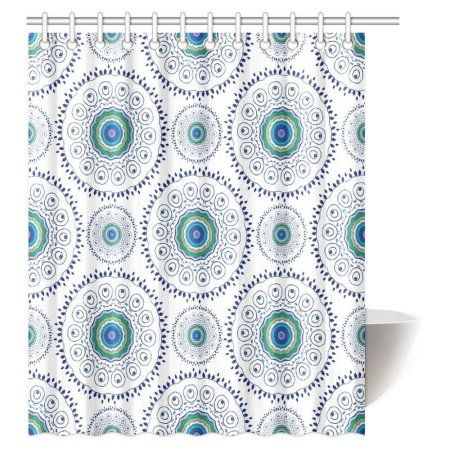 Mypop Feather Peacock Shower Curtain Home Decor Indian Floral